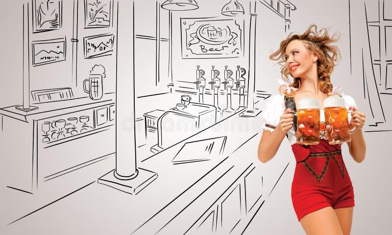Goce de la cerveza ilustración del vector