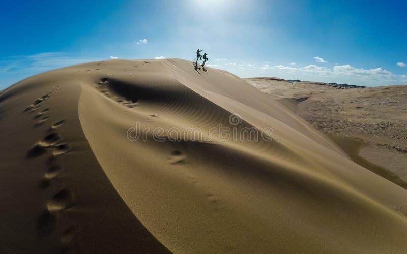 Goce de la gente que salta en las dunas de arena fotografía de archivo libre de regalías