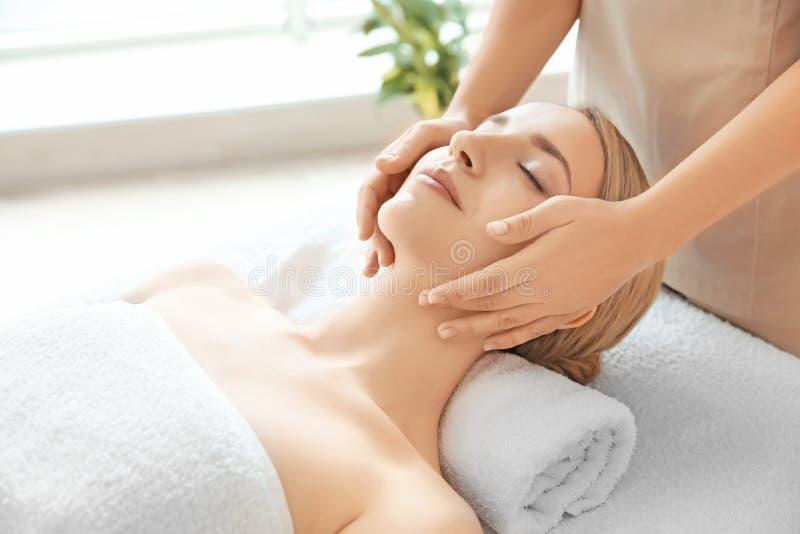 Goce de la mujer joven del masaje facial imagenes de archivo