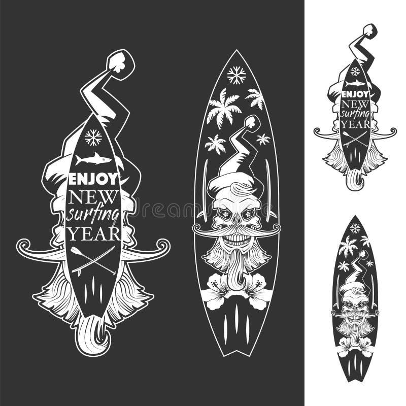 Goce de los nuevos emblemas monocromáticos del año que practican surf fotos de archivo