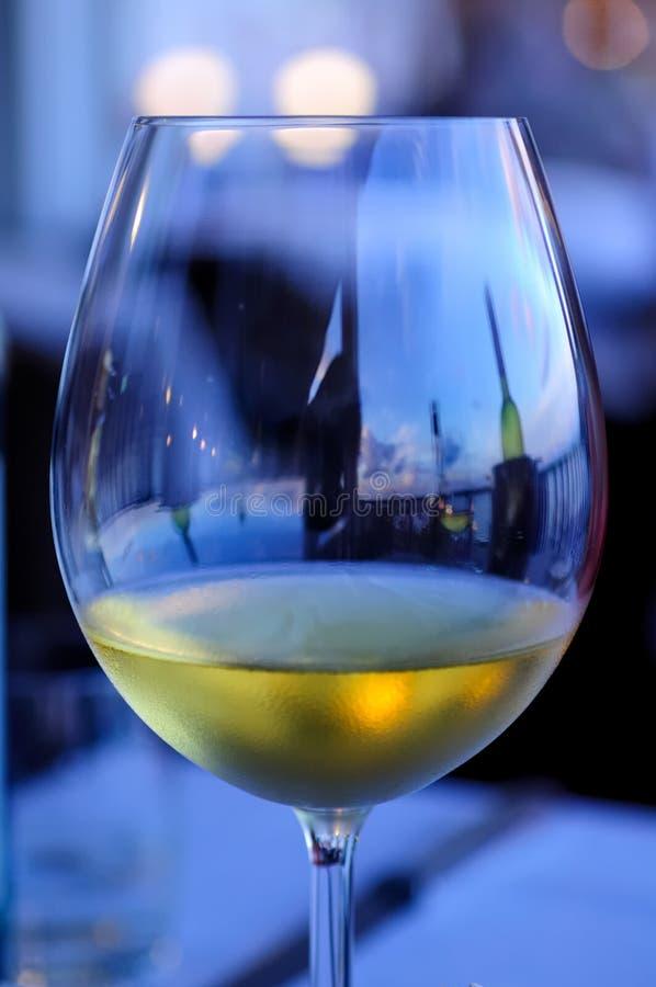 Goce de un vidrio de vino blanco en la barra del puerto imágenes de archivo libres de regalías