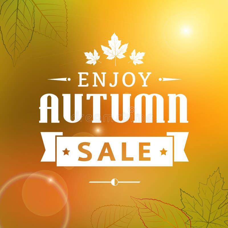 Goce del cartel de la tipografía del vintage de la venta del otoño stock de ilustración