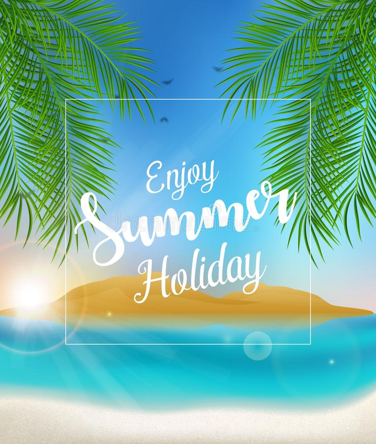 Goce del cartel de las vacaciones de verano con las palmeras en la playa libre illustration