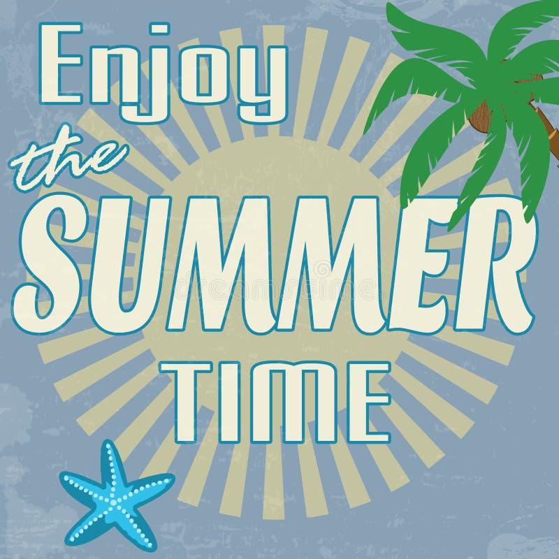 Goce del cartel del vintage del tiempo de verano ilustración del vector