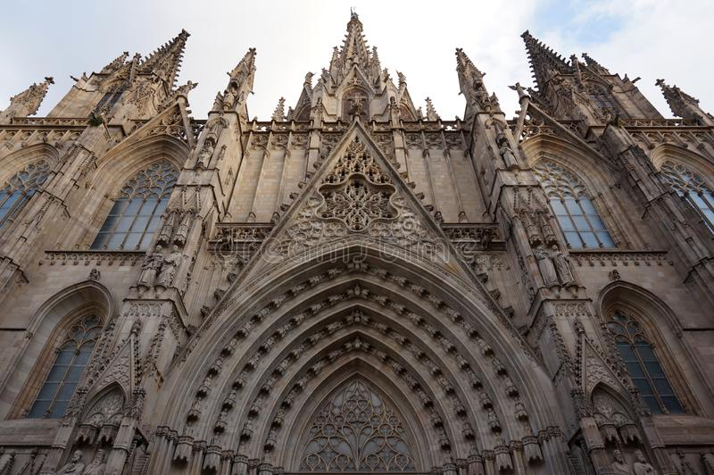 Gocka Barcelona Katedralna powierzchowność w Hiszpania obrazy royalty free