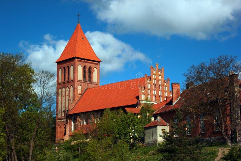 Gocka egzaltacja Święty Przecinający kościół w Gorowo Ilaweckie, Polska zdjęcie stock