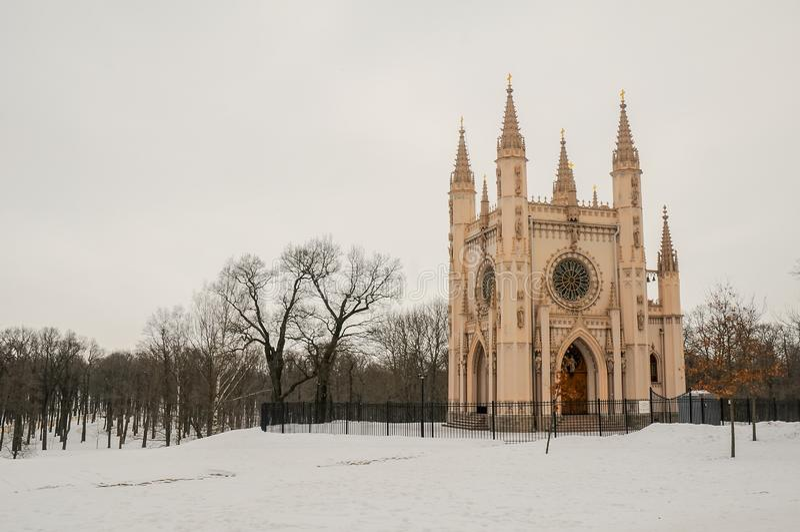 Gocka kaplica w Aleksandria parku, Peterhof blisko świętego Petersburg, Rosja zdjęcia stock