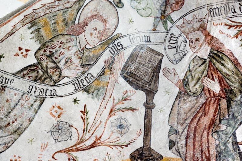 Gocki fresk Annunciation Archanioł Gabriel wita Mary zdjęcia royalty free