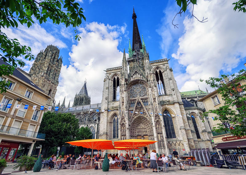Gocki katolicki katedralny Notre Damae Rouen, Normandy, Francja zdjęcie stock