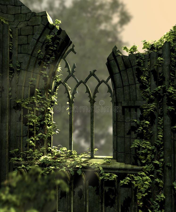 Gockie Stare ruiny Zakrywać z bluszczem royalty ilustracja