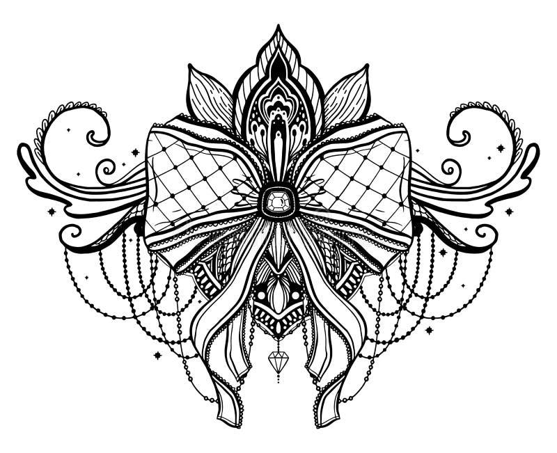 Gockiego ??ku i lotosowego kwiatu tatua?u motyw Czarna kolor grafika w bia?ym tle ilustracja wektor