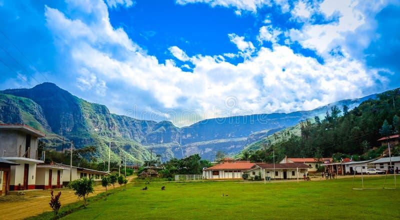 Gocta ` s瀑布风景在Chachapoyas,亚马逊 秘鲁 免版税库存图片