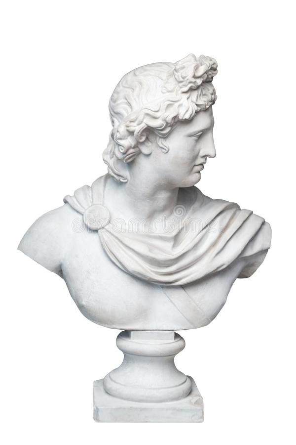 God Apollo bust sculpture. Ancient Greek god of Sun and Poetry Plaster copy of a marble statue isolated on white. God Apollo bust sculpture. Ancient Greek god stock image