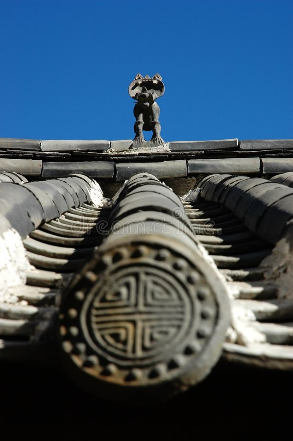 God Beast on the Ancient Roof royalty free stock photography