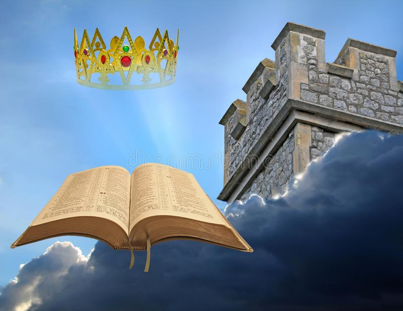 God bible bibles kingdom heaven golden gold crown king tower watchtower open sky clouds christ jesus jehovah jah yahweh stock photo