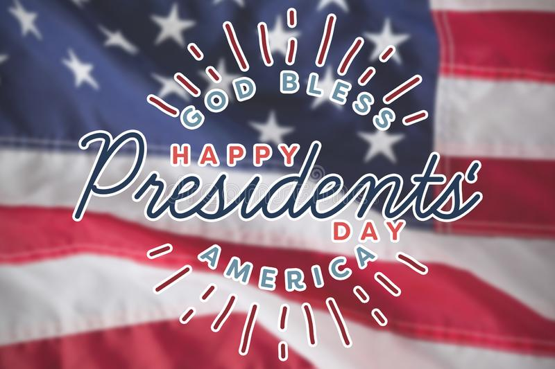 Composite image of god bless america. happy presidents day. vector typography. God bless america. Happy presidents day. vector typography against close-up of an stock illustration