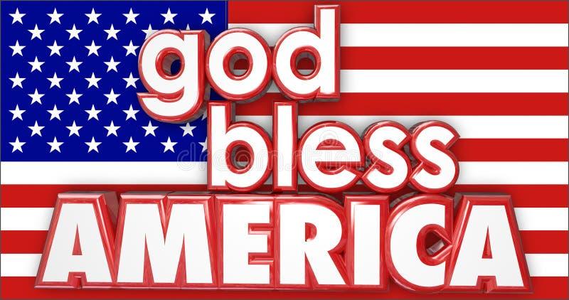 God Bless America United States USA Flag 3d Words. God Bless America 3d words on the red, white and blue flag of the United States or USA stock illustration