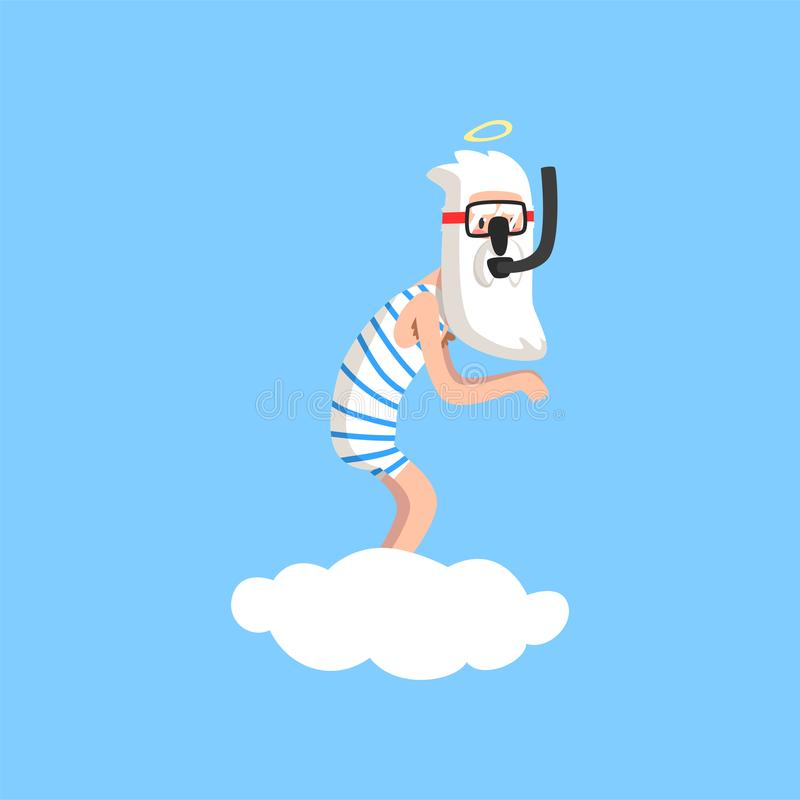 God character in action on white cloud. Almighty bearded man wearing striped swimsuit, mask and snorkel. Flat vector stock illustration