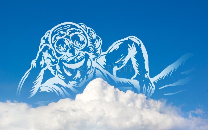 God on clouds royalty free illustration