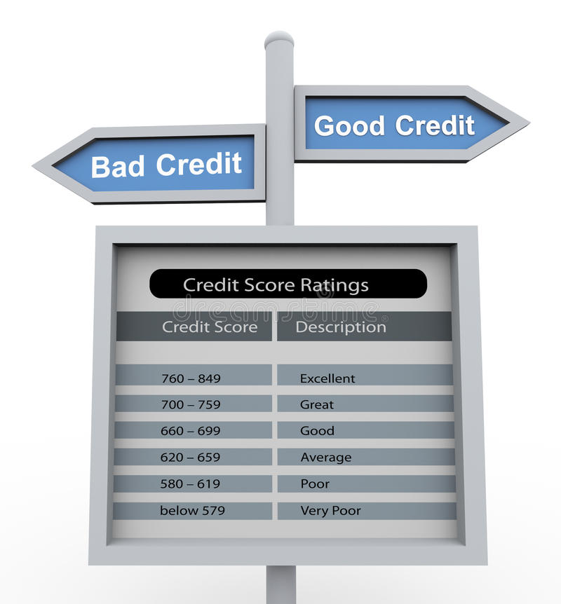 god dålig kreditering stock illustrationer