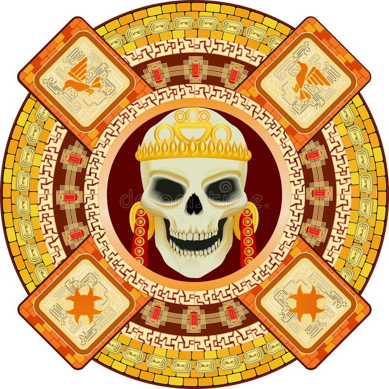 God of death of Aztecs. Skull the god of death of Aztecs stylization in a vector illustration