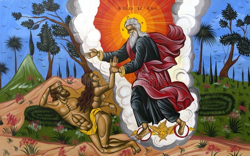 God die Adam en Eva cre?ërt royalty-vrije stock afbeeldingen