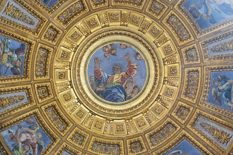 God the Father. Mosaic in the top of cupola in Chigi chapel by Luigi de Pace in Church of Santa Maria del Popolo, Rome, Italy royalty free stock photos