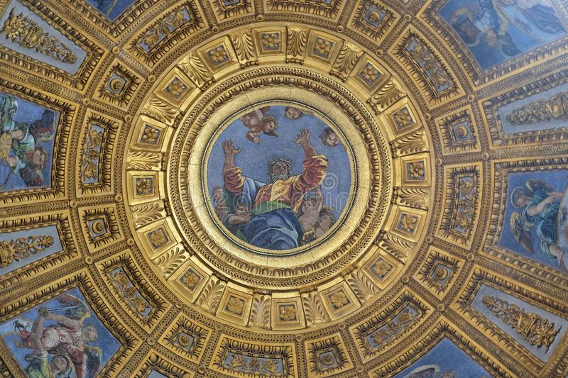 God the Father. Mosaic in the top of cupola in Chigi chapel by Luigi de Pace in Church of Santa Maria del Popolo, Rome, Italy royalty free stock photo