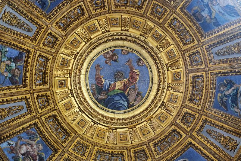 God the Father. Mosaic of God the Father in the top of cupola in Chigi chapel by Luigi de Pace in Church of Santa Maria del Popolo, Rome, Italy stock photo