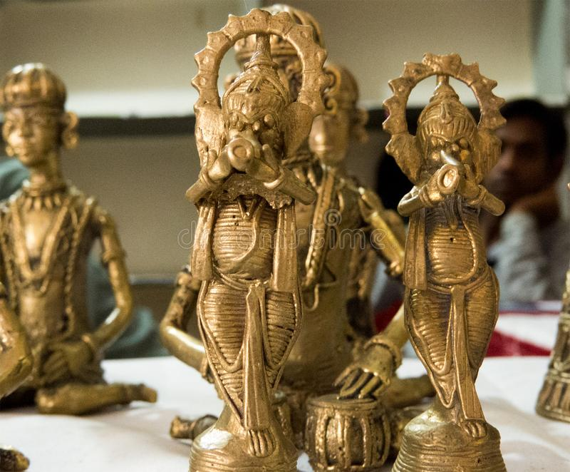 God Ganesha made of Brass Metal-India. Ancient Indian style elephant god Ganesha sculpture made of brass metal. Create by tribal people of central India stock image
