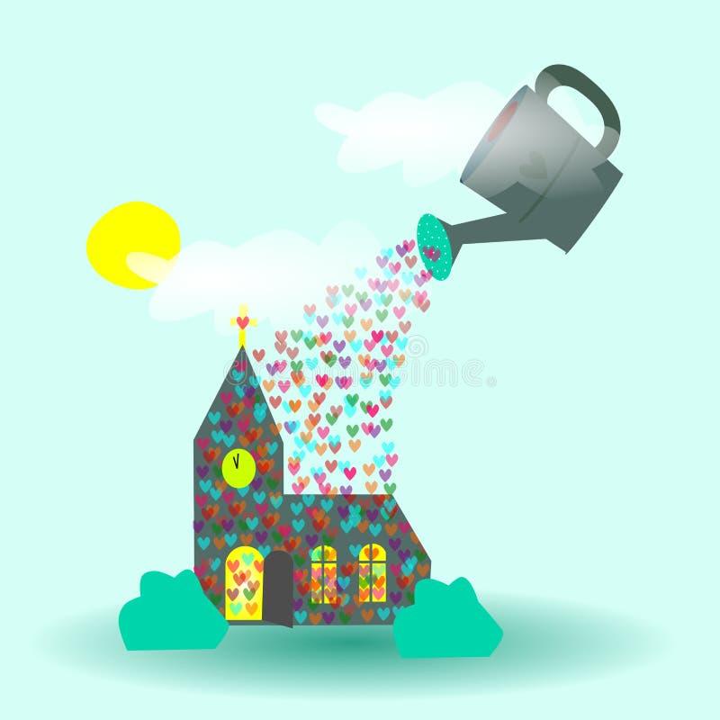God het gieten liefde die op kerk zegenen royalty-vrije illustratie