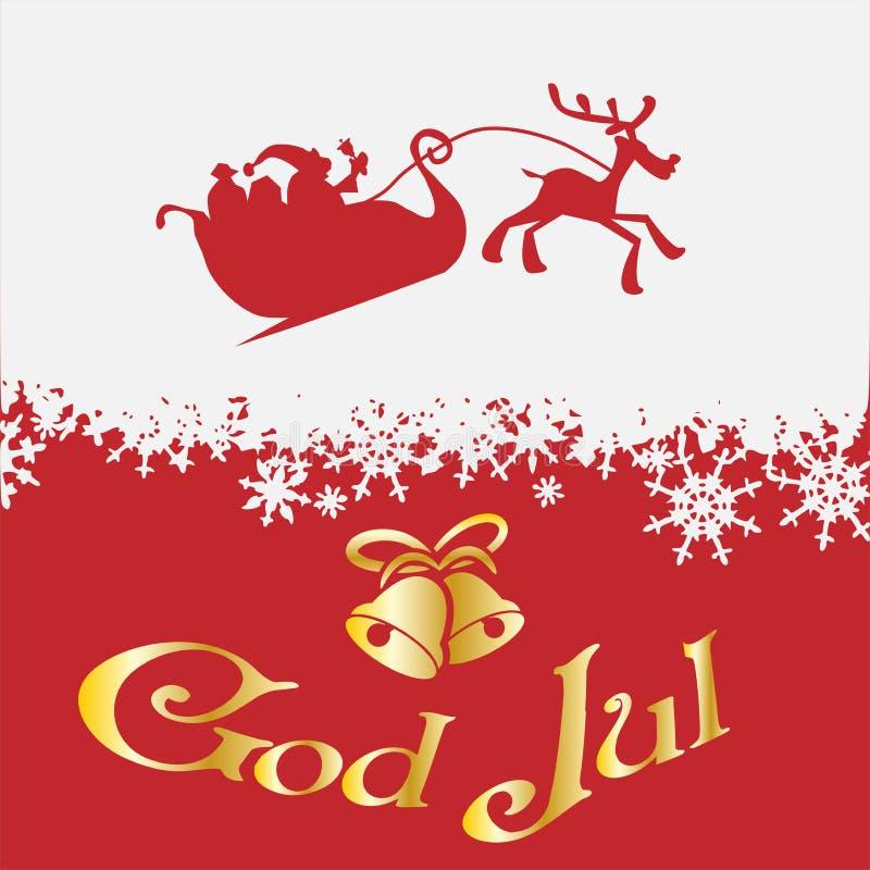 God Jul with bells, Santa with reindeer. God Jul, Scandinavian Merry Christmas, golden text with bells and Santa with reindeer on snow background stock illustration
