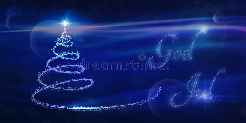 God Jul, Scandinavian Christmas card in blue. God Jul, magical Scandinavian Christmas card in blue stock illustration
