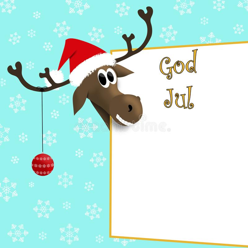 God Jul - Norway, Sverige. Illustration. Reindeer in red cap with christmas decoration on antler near sign with Norwegian inscription: Merry Christmas with vector illustration