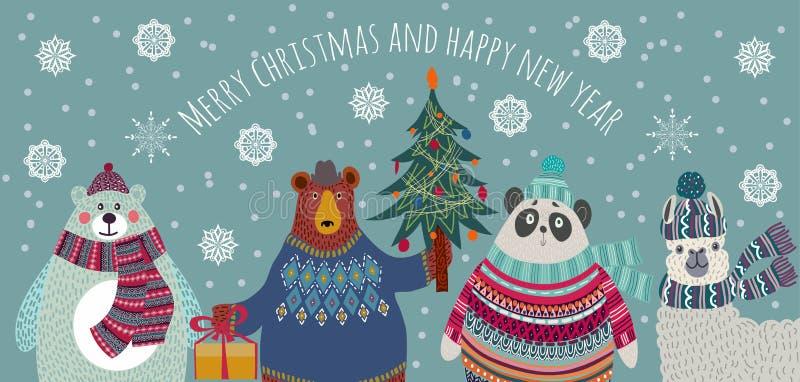 God jul och gott nytt år Tecken för uttjänta djur Goda vänner - Bear, Polar Bear, panda och lama i vinterns hälsning vektor illustrationer