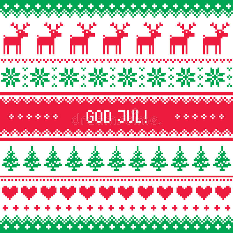 God Jul pattern - Merry Christmas in Swedish, Danish or Norwegian. Winter red and green background for celebrating Xmas in Sweden, Denmark or Norway vector illustration