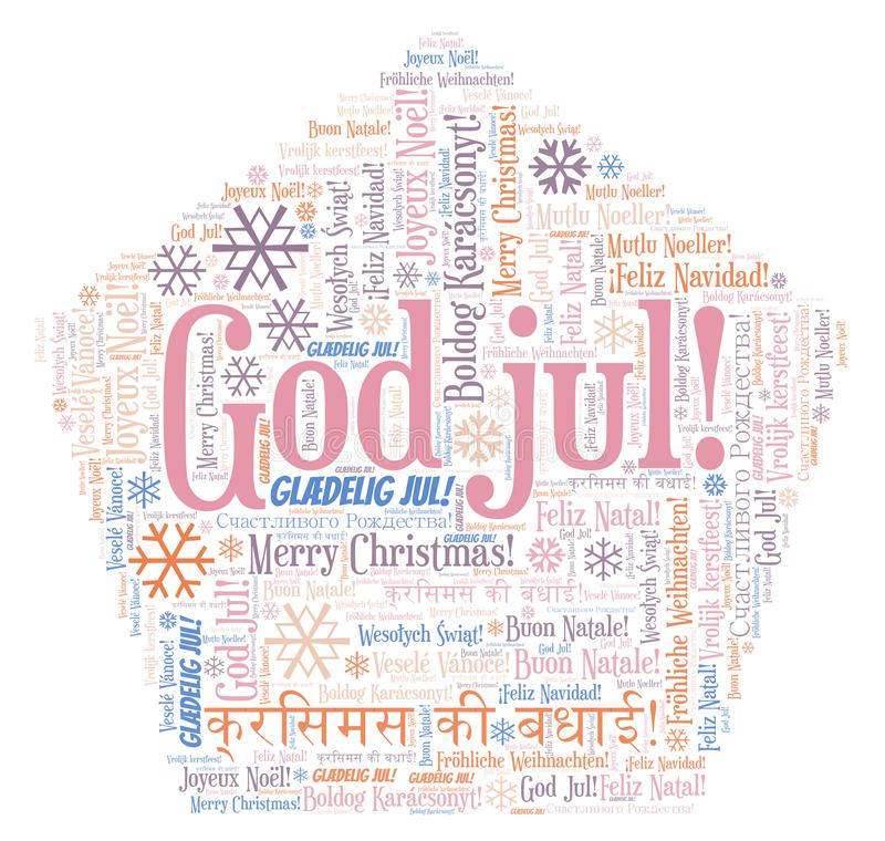 God jul word cloud - Merry Christmas on Norwegian language and other different languages. God jul word cloud - Merry Christmas on Norwegian language stock illustration
