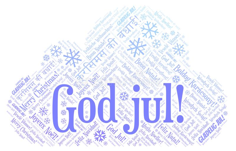 God jul word cloud - Merry Christmas on Norwegian language and other different languages. God jul word cloud - Merry Christmas on Norwegian language vector illustration