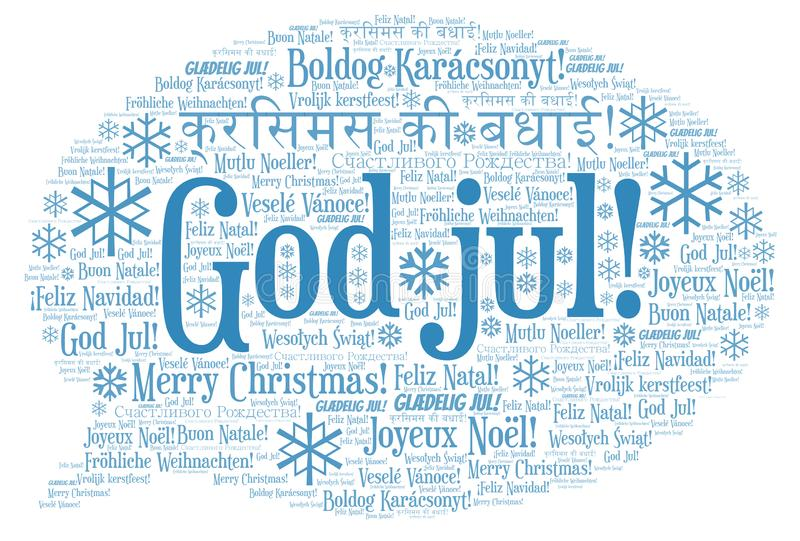 God jul word cloud - Merry Christmas on Norwegian language and other different languages. God jul word cloud - Merry Christmas on Norwegian language royalty free illustration