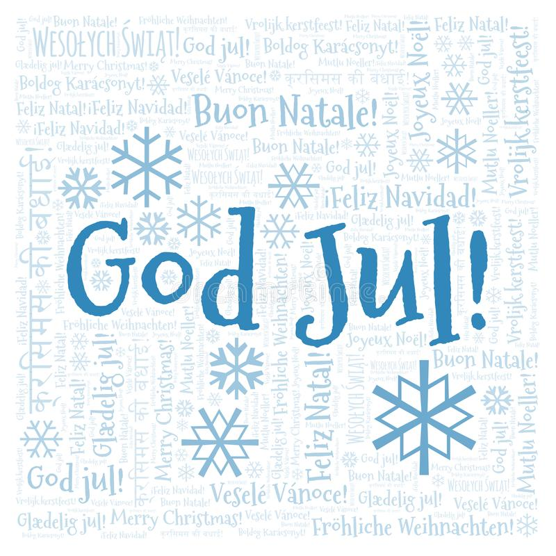 God Jul word cloud - Merry Christmas on Swedish language and other different languages. God Jul word cloud - Merry Christmas on Swedish language. International vector illustration