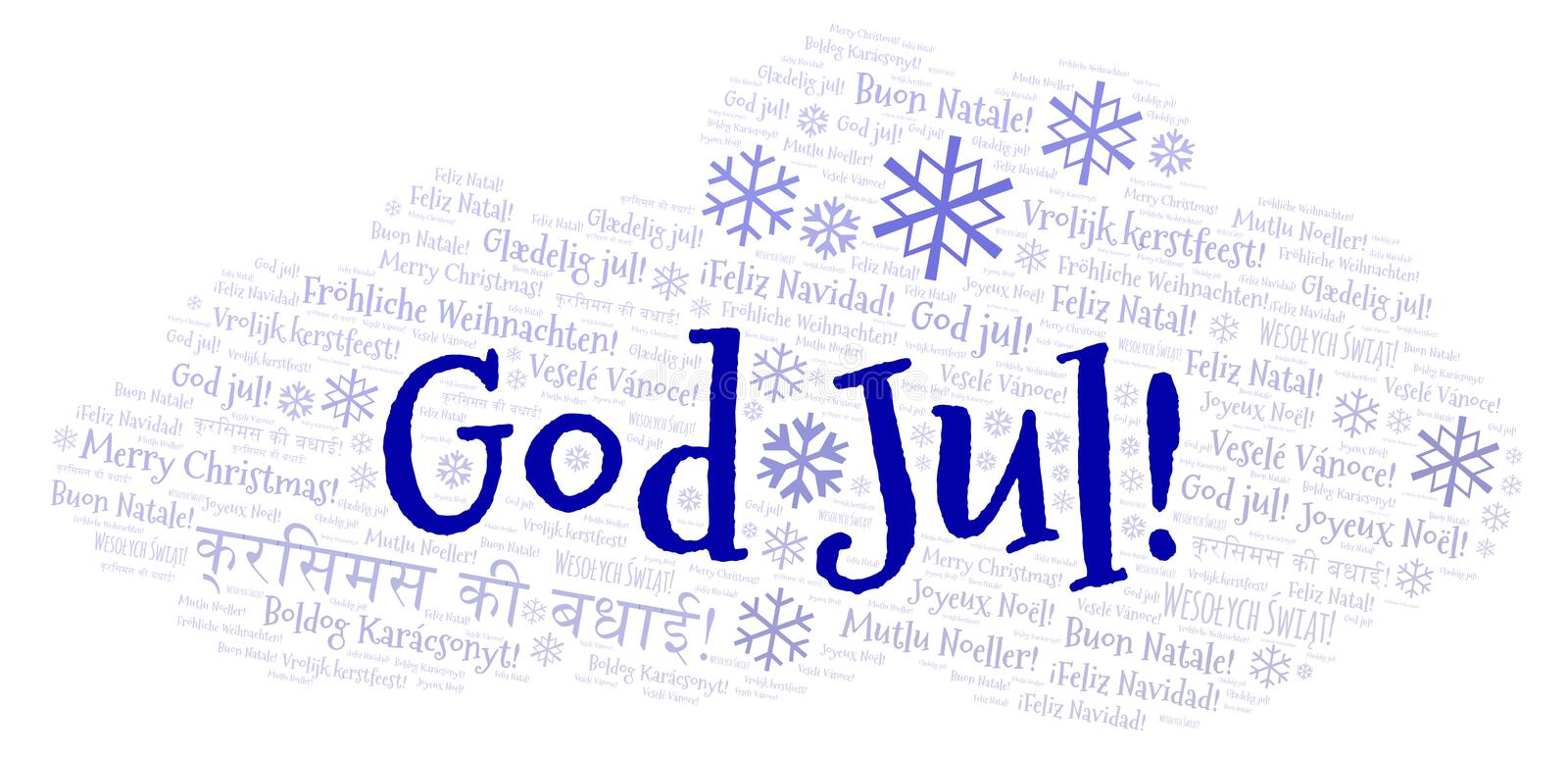 God Jul word cloud - Merry Christmas on Swedish language and other different languages. God Jul word cloud - Merry Christmas on Swedish language. International stock illustration