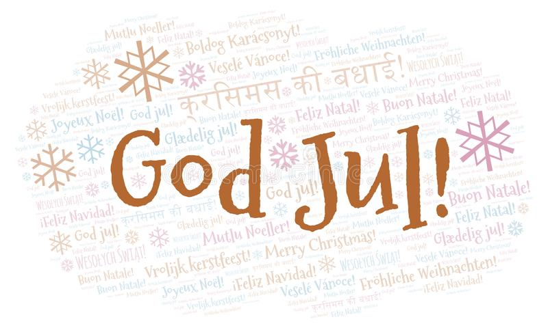 God Jul word cloud - Merry Christmas on Swedish language and other different languages. God Jul word cloud - Merry Christmas on Swedish language. International royalty free illustration