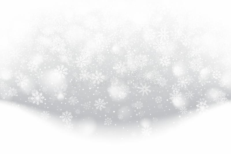 God julafton 3D-effekt med realistiska snöflingor som täcker lätt smutsad silverbakgrund royaltyfri bild