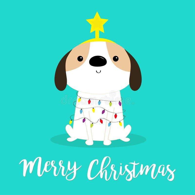 God julhundsträdsform Strålstråd av Garland-lampor Puppy pooch sittande Funny Kawaii animal Kids print Cute royaltyfri illustrationer