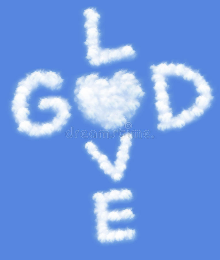 God is love. ! text in clouds form with blue sky background stock photography