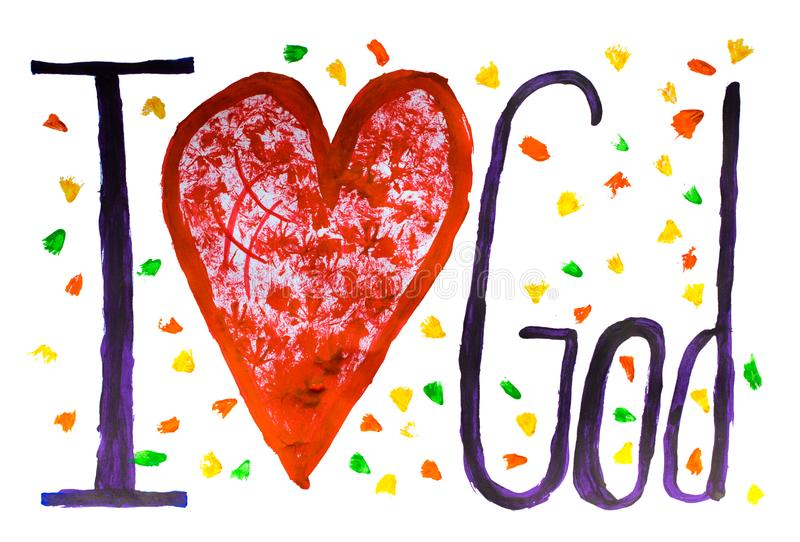 God is love concept text painted with colors on paper stock images