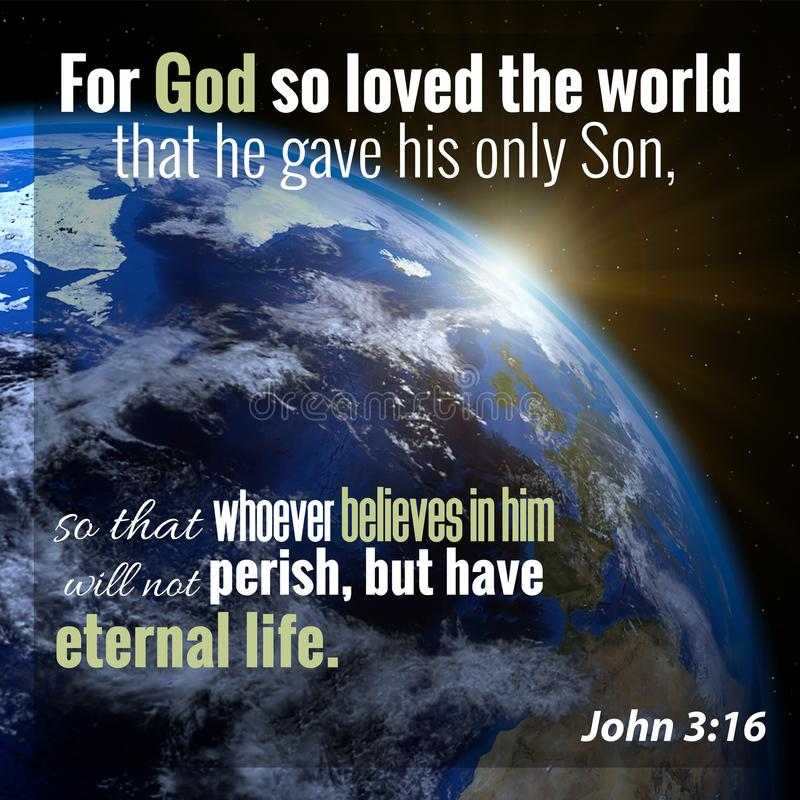 John 3:16 Bible Verse. For God so loved the world that he gave his only Son, so that whoever believes in him will not perish, but have eternal life. John 3:16 stock photos