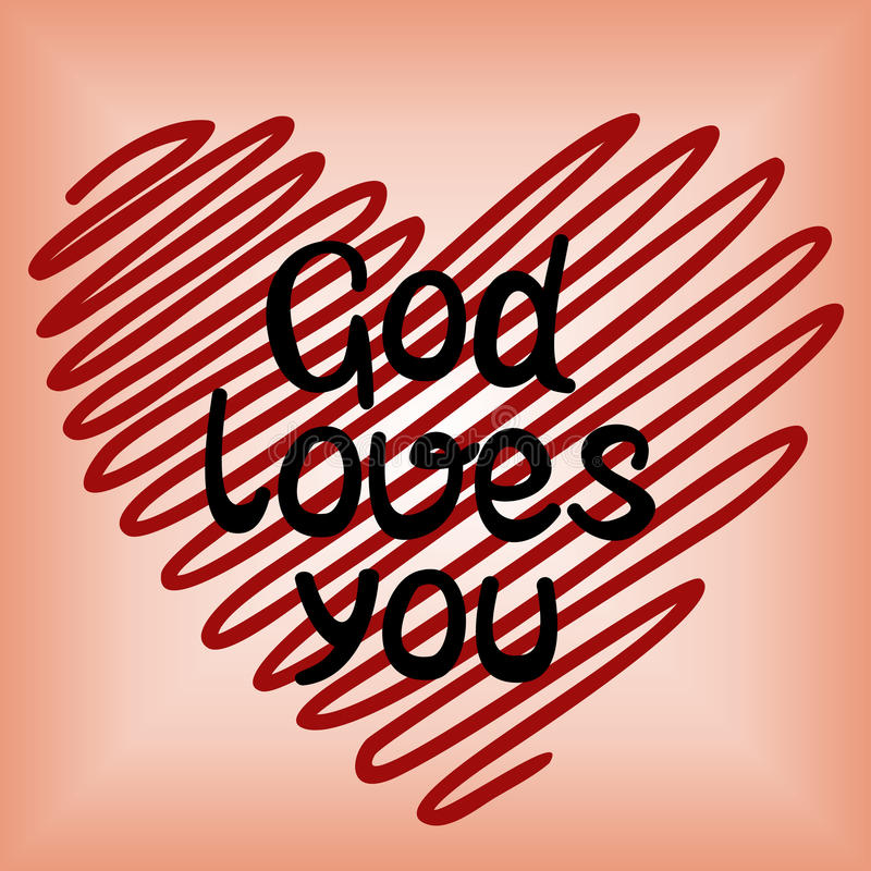 God loves you, done in red heart. Handwritten, God loves you, done in red heart royalty free stock images
