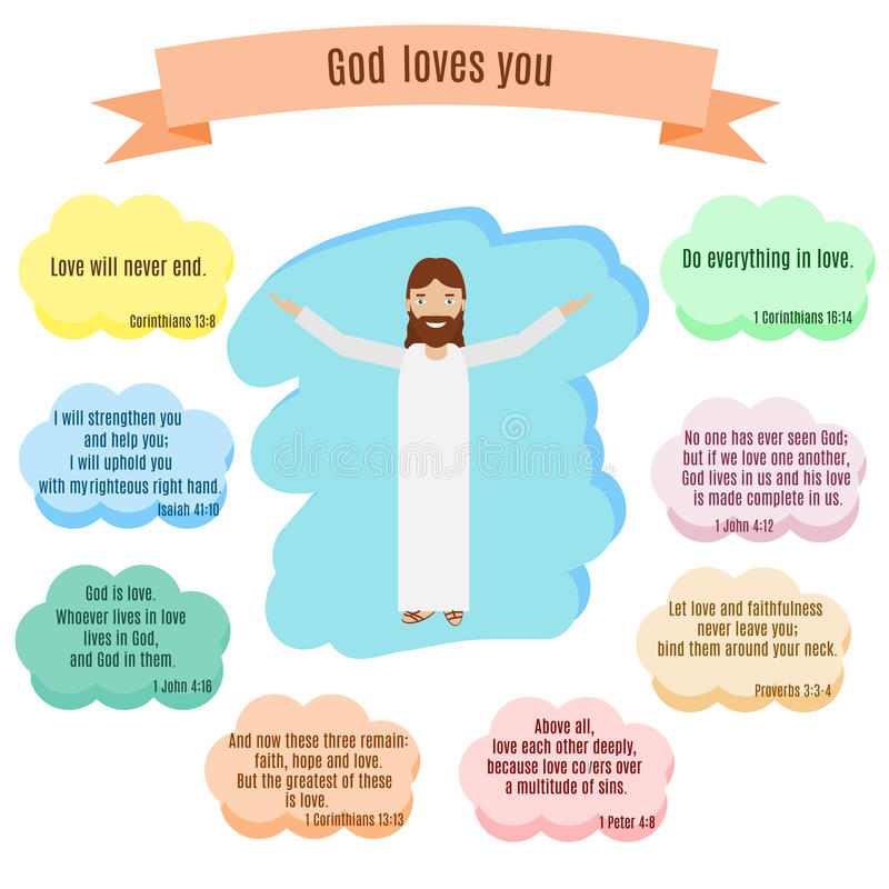 Download God Loves You Vector Illustration. Smiling Jesus And Bible Quotes  With Verses About Love