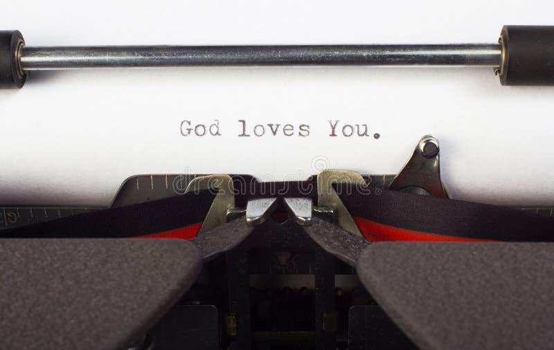 God loves You. Written on typewriter royalty free stock image